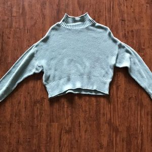 blue american eagle cropped mock neck sweater